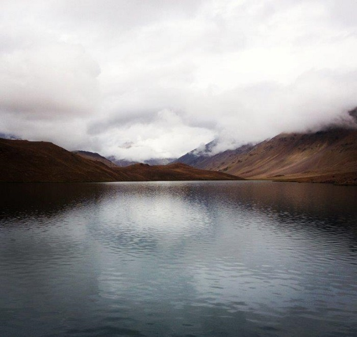 Chandra Taal, or Lake of the Moon on an overcast day