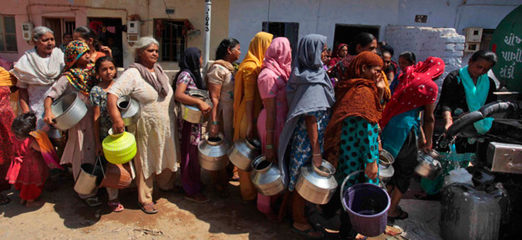 Queue for water