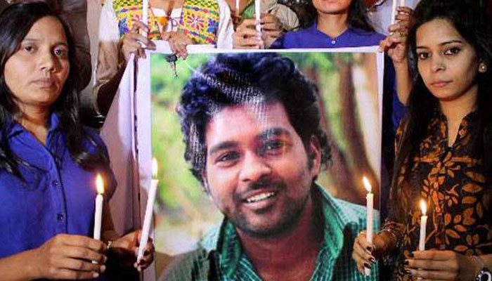 A candle march protest over the death of Rohit Vemula