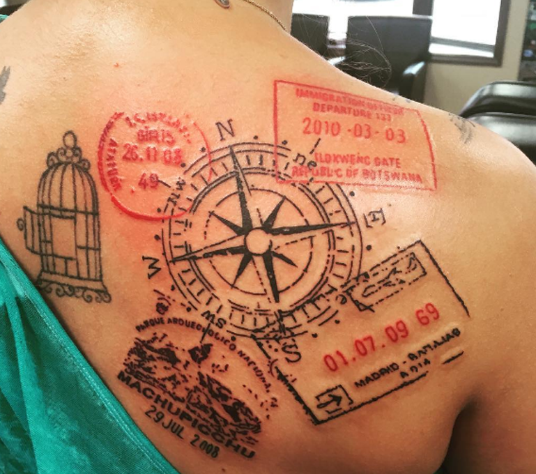 13 beautiful travel inspired tattoos that will give you instant visa stamp tattoos voltagebd Image collections