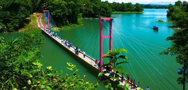 hanging bridge, rangapani, bangladesh